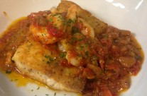 Pan roasted amberjack with local shrimp and speckled butterbean ragu