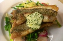 Jolt head porgy with spring pea tendrils, local radish and wild ramp butter